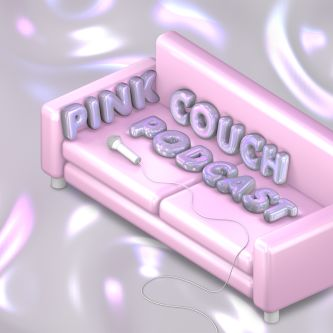 Microphone lying on pink couch for 'Pick Couch Podcast'.