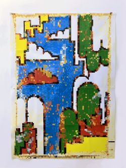 Painting of pixelated image using bold colours of red, green, blue, yellow and white.