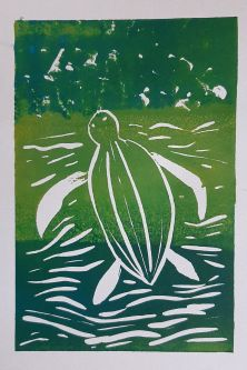Green print of a turtle