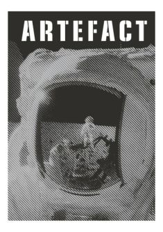 Image depicts an astronaut graphic on the front page of Artefact Magazine.