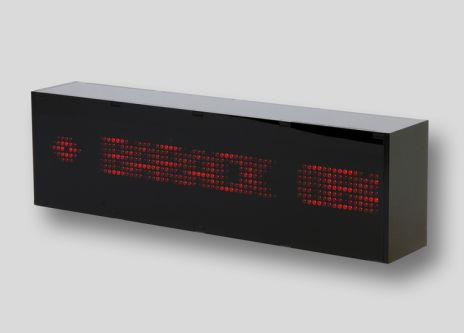Black box with LED screen and red scrolling text.