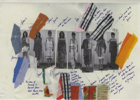 annotated line up of eight garment designs, photos in black and white