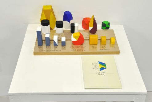 several colourful wooden objects displayed on a plinth