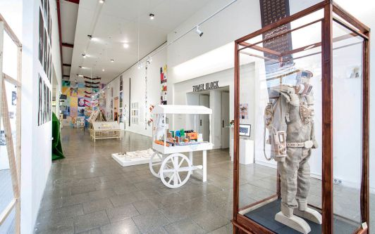 BA (Hons) Illustration and Visual Media LCC Summer Shows 2014, showing a number of works within the Atrium Gallery