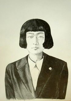 Pencil illustration of a woman with short hair, wearing a suit.