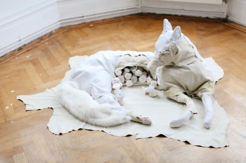 A dog and pups made form fabric