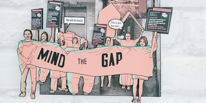A cut out illustration of a group of people holding up a banner that reads 'Mind the gap'