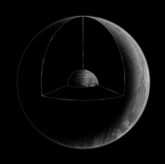 Black and white illustration of a planet with a segment cut out to show the core