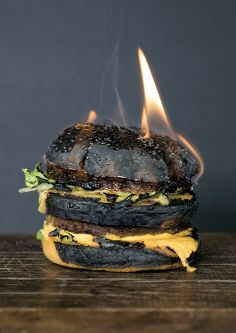 A burger in flames.