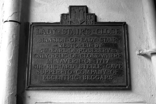 Metal historic street sign for Lady Stair's Close