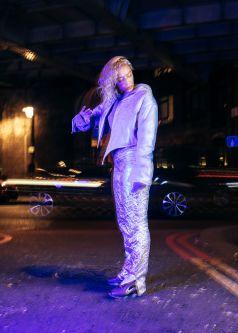 designer lisa keane in reflective outfit she designed