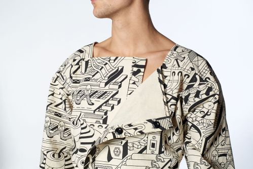 Garment and illustrative textile design by Tanguy Bertocchi.