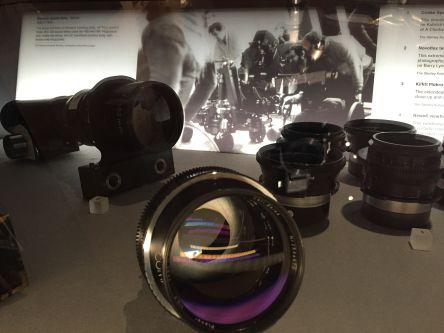 A close up of a case of camera lenses