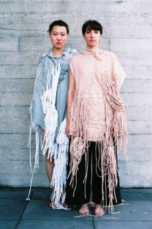 Models wearing flowing knitwear by Mila Harris-Mussi.