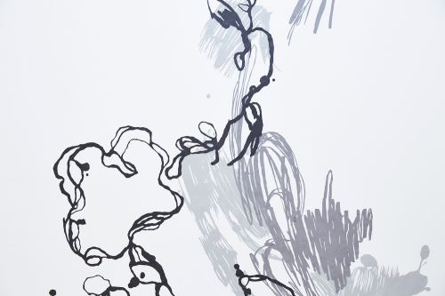 Abstract line drawing on wall by Meg Shipton.