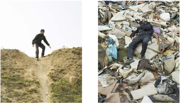 Photograph of a man on top of a hill and man sitting on rubbish