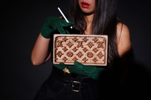Remake of Louis Vuitton bag out of wood