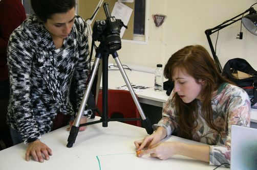 Students working on film project.