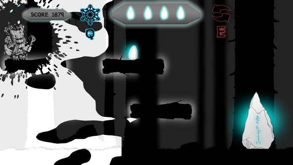 screenshot of game with spooky character attempting to jump through different levels to catch gems.