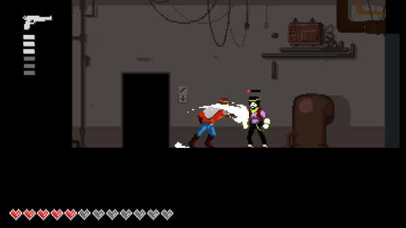 screenshot of game showing fight between two characters in a basement setting
