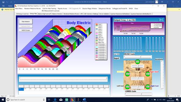 computer screenshot of scientific measurements