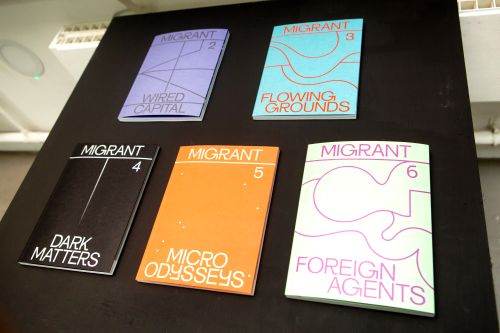 A selection of publications called Migrant and their front covers