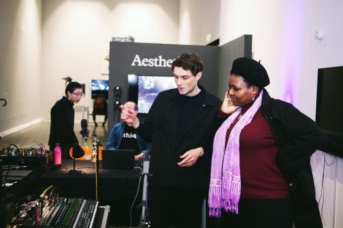 People visiting the exhibition