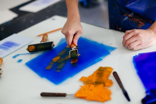 Printmaking with blue ink