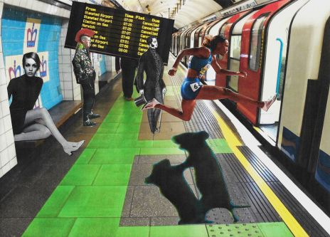 Collage of characters on an underground platform