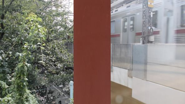 Video collage of trees, a train and a red rectangle