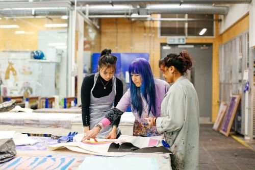 Mei Zhang (Study Abroad Student), Natalie Gibson (Tutor) and Rita Kumari (Specialist Print and Dye Technician and Associate Lecturer) in the Print and Dye Workshop