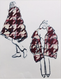 Drawings of models wearing red and white patterened coat