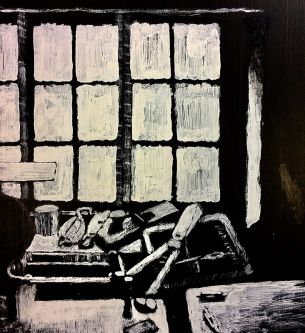 Black and white painting of a window and garden tools