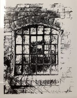Black and white drawing of window in a brick wall