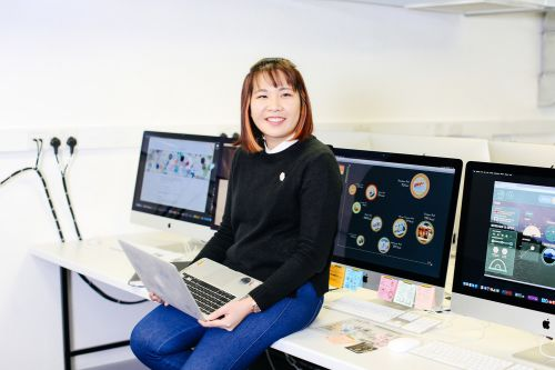 UAL student Michele Chong in a computer room and London College of Communication