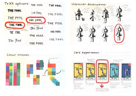 Sketchbook pages showing colour schemes, different font and illustrations with handwritten annotations.