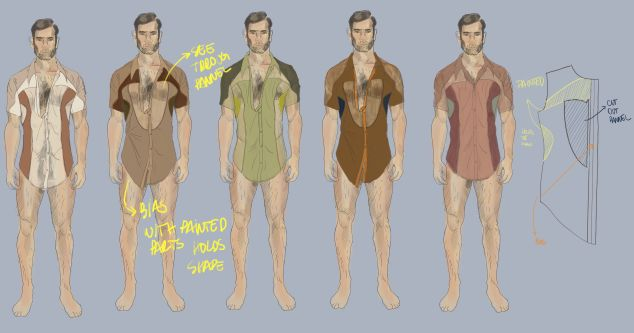 illustrations of four menswear shirt variations