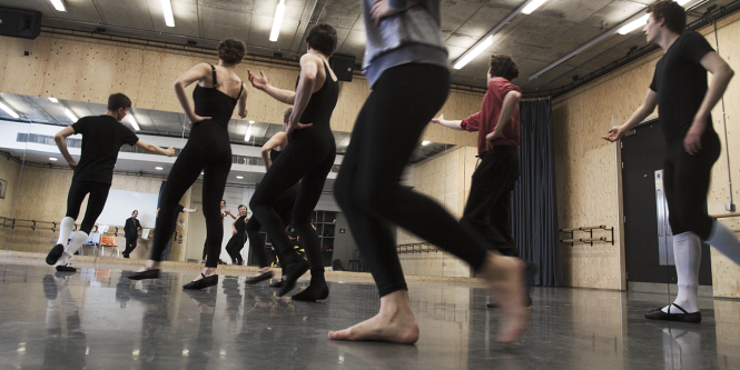 Students take part in ballet class, part of the conservatoire based teaching at Drama Centre