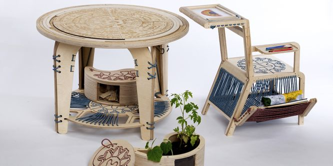 An intricately designed table and chair