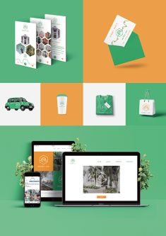 Orange and green branding for a taxi company, image shows a number of devices including a mobile phone.