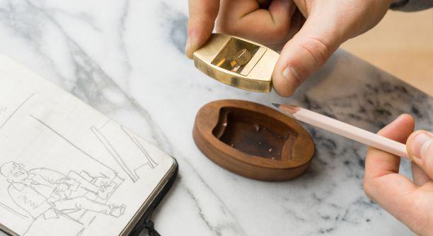 Pencil sharpener in use