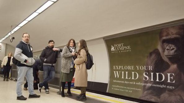 Communters on a tube station platform