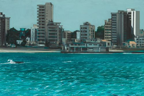 evan's painting of seaside town.