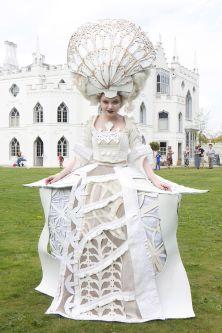 White flamboyant dress.