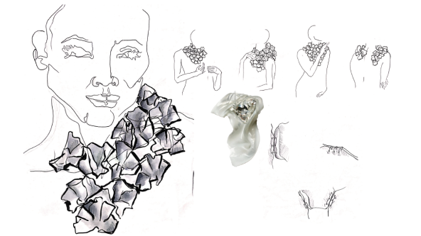 A page from Niamh O'Sullivan's project notes for her Glacier necklace