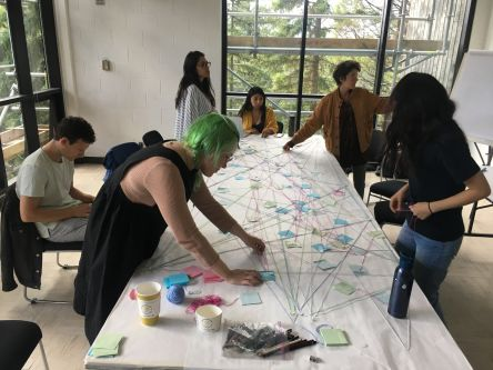 A group of people string-mapping on a table