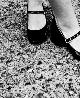 Close of shot of black court shoes