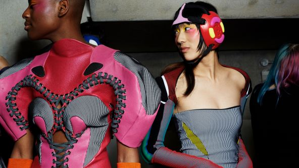 Models wearing garments by Paolina Russo at the MA Fashion Show 2020