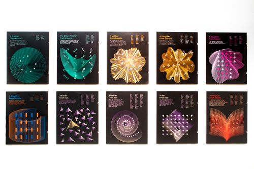 Colourful data visualisations on 8 displayed posters.