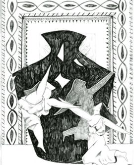 Sketch of jug and dancers